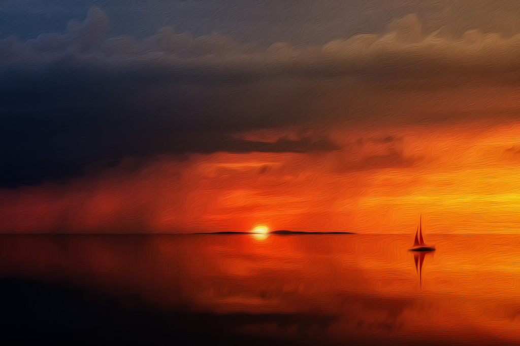 Image of a ship heading off into the sunset following its passion