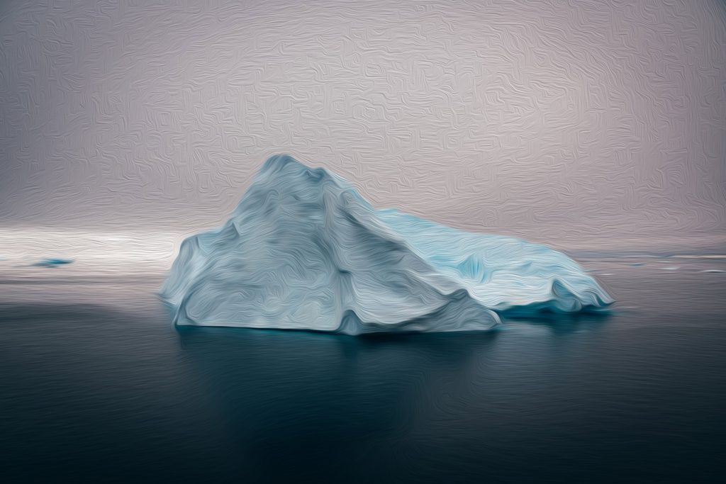 Image of an iceberg with consciousness above water and the collective unconscious at the very depths underwater