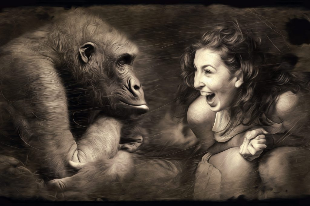 woman laughing with a gorilla each representing different layers of the mind