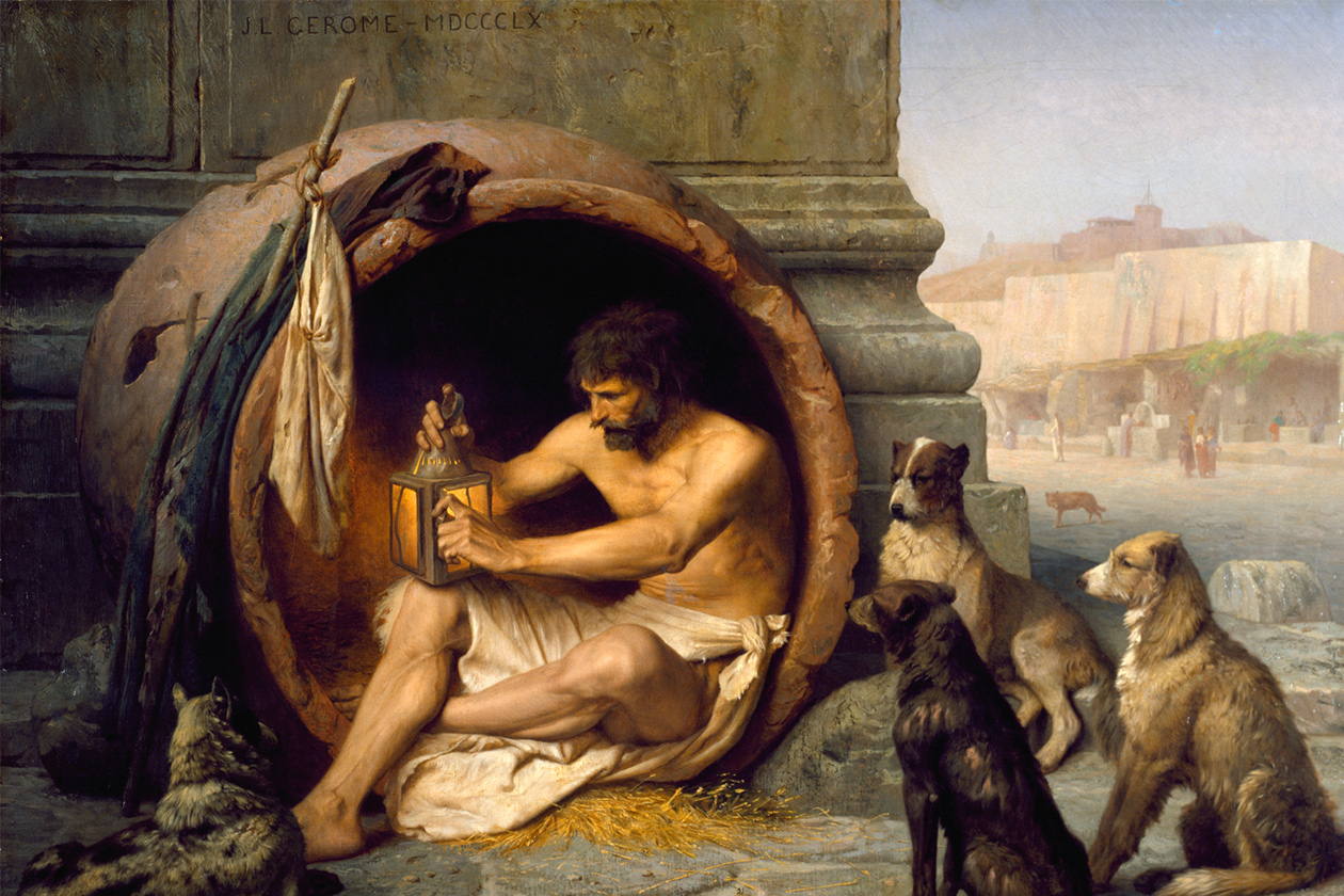 <h1>The Living Philosophy of Diogenes theCynic</h1> <h4>When philosophy was living in an urn and masturbating inpublic</h4>